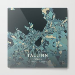 Tallinn, Estonia - Cream Blue Metal Print