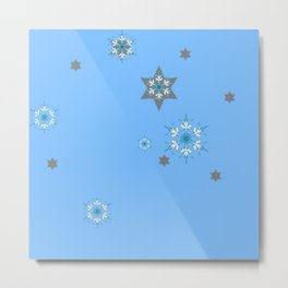BABY BLUE COLOR & SNOWFLAKES DESIGN ART Metal Print
