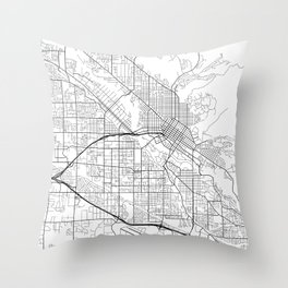 Boise Map, USA - Black and White Throw Pillow