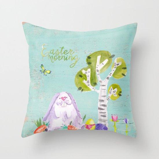 Easter Morning I- Animal Rabit Hare Bunny Spring for children Throw Pillow