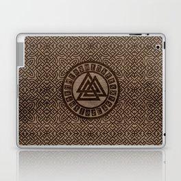 Valknut Symbol and Runes on Celtic Pattern on Wood Laptop & iPad Skin