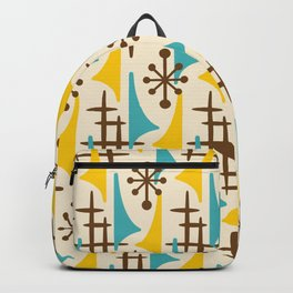 Retro Mid Century Modern Atomic Wing Pattern 424 Brown Yellow and Turquoise Backpack