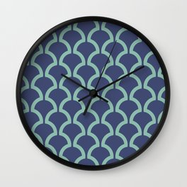 Classic Fan or Scallop Pattern 484 Blue and Green Wall Clock