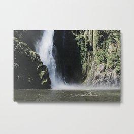 Waterfall at Milford Sound Metal Print