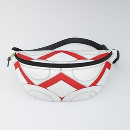 White Circles And Red Squares Abstract Geometric Pattern Fanny Pack