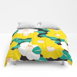 Shades of Tsubaki - Yellow & Black Comforters