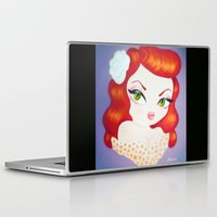 rockabilly Laptop & iPad Skins featuring Rockabilly Redhead by Little Bunny Sunshine