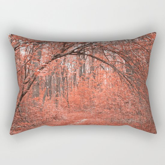 Forest Arch Trail - Salmon Pink Rectangular Pillow
