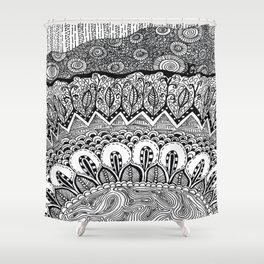 Black and White Doodle Shower Curtain