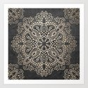 Mandala White Gold on Dark Gray by naturemagick