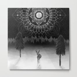 Deer and Forest B&W Metal Print