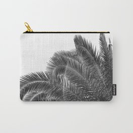 Summer Palm Leaf Print {3 of 3} | B&W Black and White Sun Sky Beach Vibes Tropical Plant Nature Art Carry-All Pouch