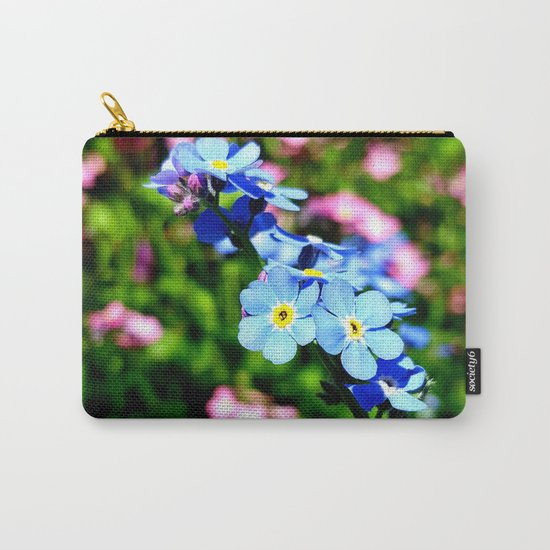 Pink And Blue Forget Me Nots Carry-All Pouch