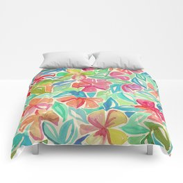 Tropical Floral Watercolor Painting Comforters