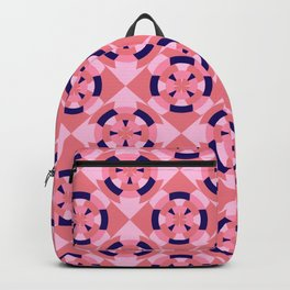 Simple geometric boat helm in blue and pink Backpack