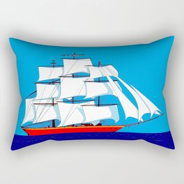 Clipper Ship in Sunny Sky Rectangular Pillow