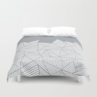 psych Duvet Covers featuring Abstract Mountain Grey by Project M