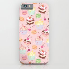 sweet pattern aka cake , cupcake and macaroon iPhone Case