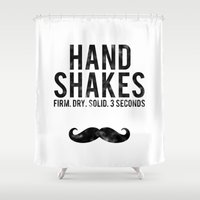 law Shower Curtains featuring The Handshake Law by The LOL Shop