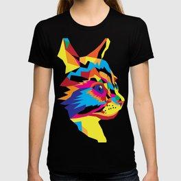 Geomtric Colourful Kitten Digitally Created T-shirt