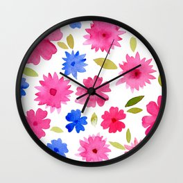 Loose floral pattern - pink and blue Wall Clock