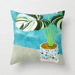Variegated Monstera #tropical #painting #nature Throw Pillow