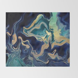 DRAMAQUEEN - GOLD INDIGO MARBLE Throw Blanket