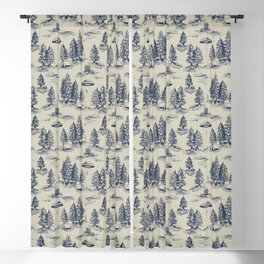 Alien Abduction Toile De Jouy Pattern in Blue Blackout Curtain