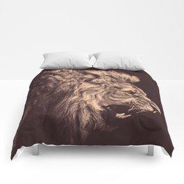 lion pencil art lion roar black and white Comforters