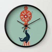 seal Wall Clocks featuring Circus Seal by Picomodi