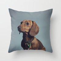 dachshund Throw Pillows featuring Dachshund by RikkiB