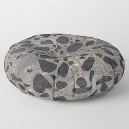 Terrazzo - Mosaic - Wooden texture and gold #1 Floor Pillow