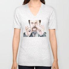 Swanson Mustache Unisex V-Neck