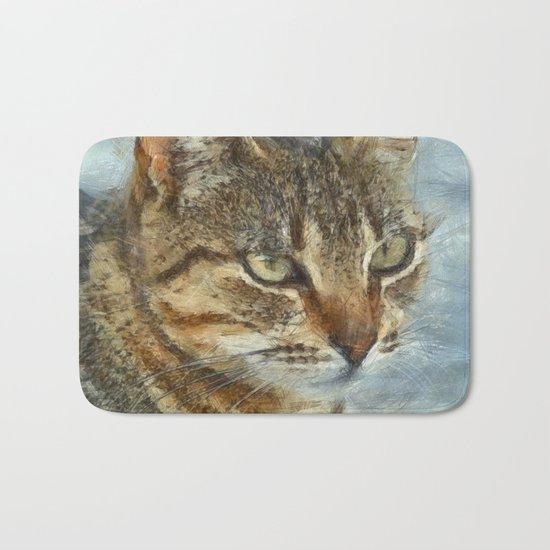 Stunning Tabby Cat Close Up Portrait Bath Mat