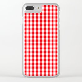 Large Christmas Red and White Gingham Check Plaid Clear iPhone Case