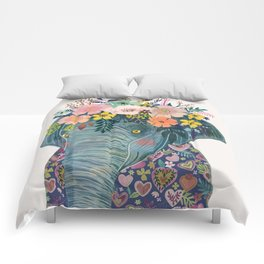 Elephant with flowers on head Comforters