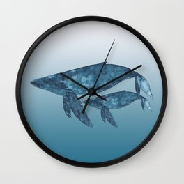 Mama Whale and Calf Watercolor Humback Wall Clock