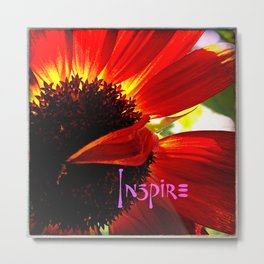 """Inspire"" quote stylish, red orange daisy close-up photo Metal Print"