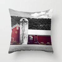 farm Throw Pillows featuring farm by Alyssa Vielee