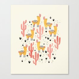Yellow Llamas Red Cacti Canvas Print
