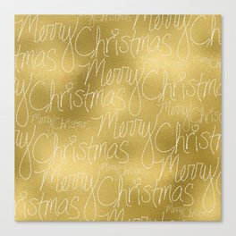 Merry christmas- christmas typography on gold pattern Canvas Print