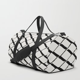 Modern Diamond Lattice 2 Black on Light Gray Duffle Bag