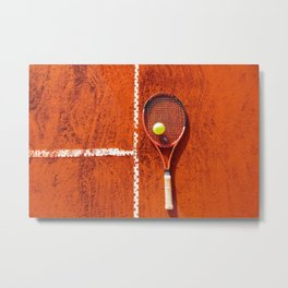 Tennis racket with ball on tennis court Metal Print