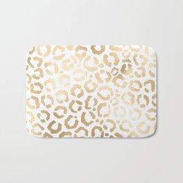 Elegant Gold White Leopard Cheetah Animal Print Bath Mat
