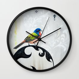 Bird - Painted Bunting Silver Haze Wall Clock
