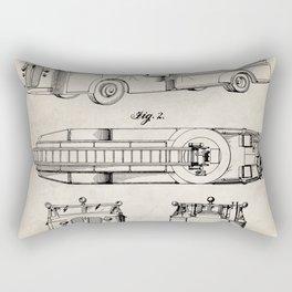 Fire Truck Patent - Aerial Fireman Truck Art - Antique Rectangular Pillow