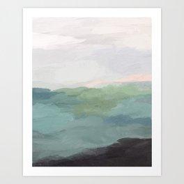 Seafoam Green Mint Black Blush Pink Abstract Nature Land Art Painting Art Print II Art Print