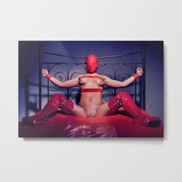 Bed Time - Naked woman tied up on a bed Metal Print