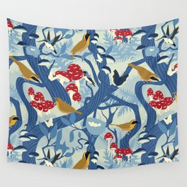 North American Forest Pattern (Blues) Wall Tapestry