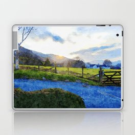 Cool Sunset behind the Farm and Mountains by the Lake District, UK Laptop & iPad Skin